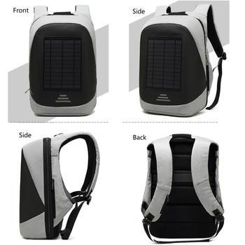 15.6' Laptop Solar Backpack Large iPad Bag USB Charging Business Backpacks Traveling Daypack anti theft backpack Male Mochila 6