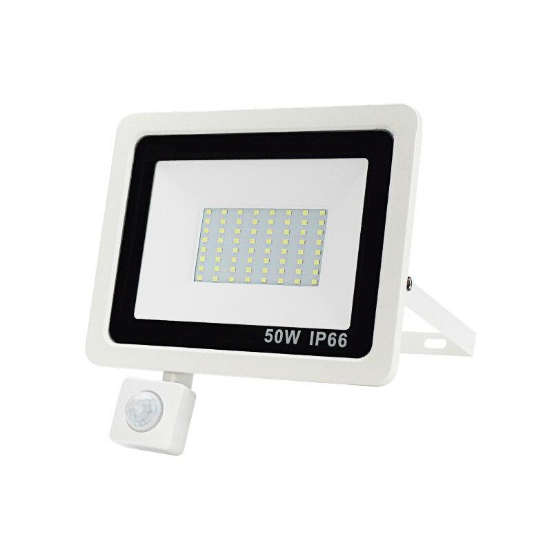 Pir sensor de movimento led projector 10 w 20 30 50 100 ac 220 v à prova dwaterproof água ao ar livre jardim parede led refletor foco lâmpada