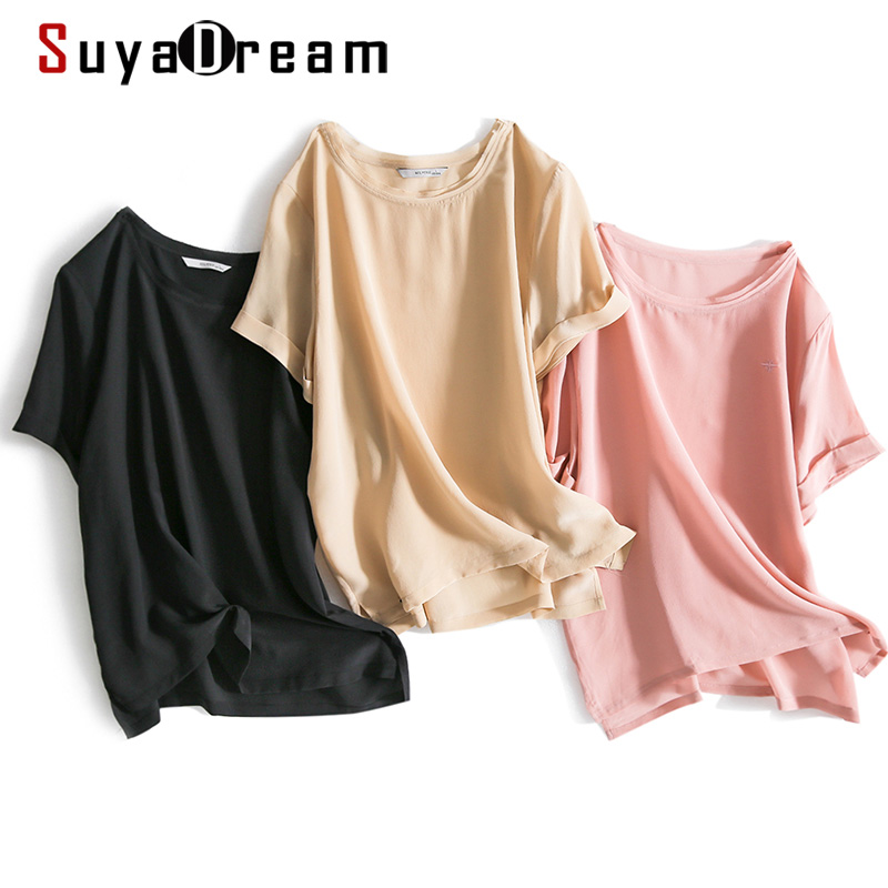 SuyaDream Women Summer Blouses 100%Real Silk Short Sleeved Candy Colors O Neck Plain Blouse Shirt 2020 Plus Sizes Casual Top