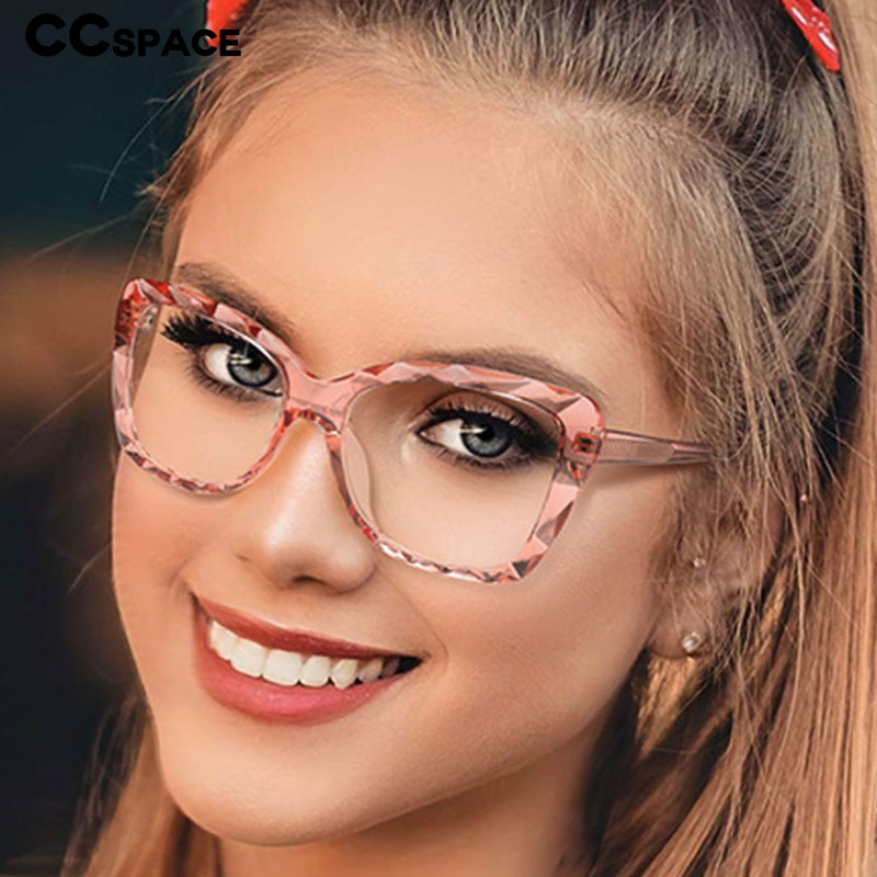 47340 TR90 Anti-blue Cat Eye Crystal Cutting Ultralight Frames Men Women Optical Fashion Computer Glasses