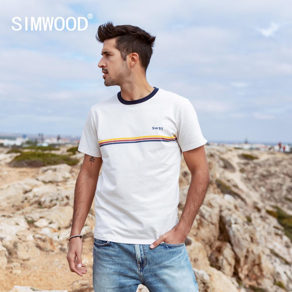 SIMWOOD 2020 Summer New Contrast Striped T-shirt  Men 100% Cotton Tops Fashion Breathable  T Shirts Plus Size Clothes  SJ170043