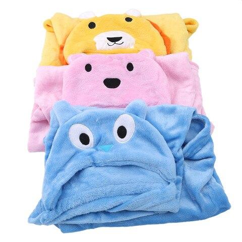 bonito macio com capuz dos desenhos animados animal cobertor da crianca animal roupao de banho