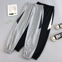2019 New Jogger Pants  Spring And Autumn Lightning Pattern Female Ankle-Length Pants Student Teenager Girls Gray White N44