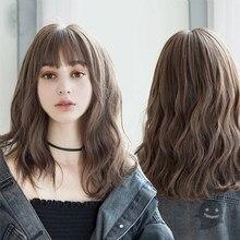 Shangke perucas sintéticas para as mulheres diariamente cosplay longa onda de água lolita peruca com franja marrom frio resistente ao calor do cabelo bob peruca