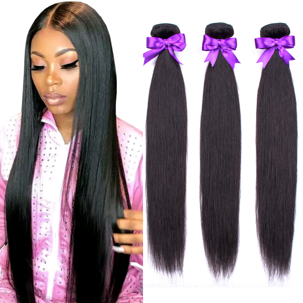Straight Human Hair Bundles 100G/PC Brazilian Hair Weave Bundles 100% Human Hair Extension 24 26 28 30 Non Remy Ms Love