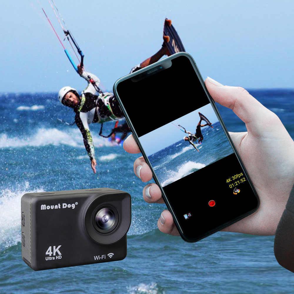 """MountDog 4 18K スポーツアクションカメラ 30fps WiFi 2.0 """"スクリーン 170D 水中防水ミニヘルメットビデオ録画カメラスポーツカム"""