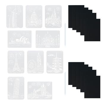 2 zestawy DIY szablon papier do malowania zestaw Scratch rysunek papier rzemieślniczy Art tanie i dobre opinie CN (pochodzenie) Z tworzywa sztucznego MATERNITY NONE Scratch Paper Scratch Painting Paper Templates DIY Scratch Painting Paper Set
