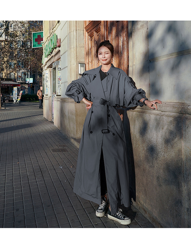 H25210987e06e4eb7aaa8cacf2db05fafE Korean Style Loose Oversized X-Long Women's Trench Coat Double-Breasted Belted Lady Cloak Windbreaker Spring Fall Outerwear Grey