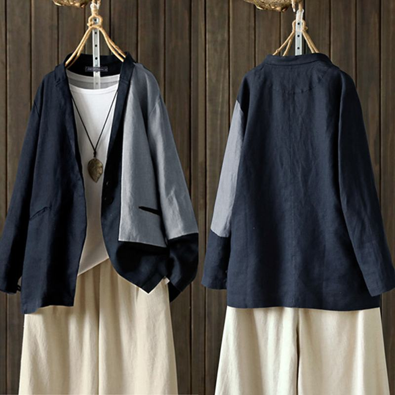 Cardigans Women's Blazers 2020 ZANZEA Autumn Stitching Coats Elegant Casual Long Sleeve Outerwears Female Button Tunic Oversize