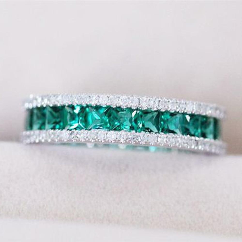 Anillo de compromiso sencillo para mujer, clásico, verde, blanco, CZ, austriaco, cristal, Plata 925, joyería de Plata, anillo de amante