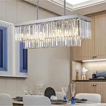New rectangular chandelier Modern crystal Chrome Chandeliers Kitchen Island Lighting LED Indoor hanging lamps fixture new modern spiral design modern led crystal chandelier dia60 h260cm dimmable light long crystal stair lighting fixture