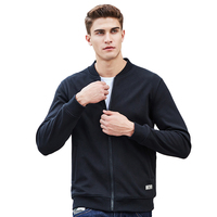 Pioneer Camp hoodies men black thick fleece warm autumn brand clothing solid casual zipper quality cotton sweatshirt male 622215