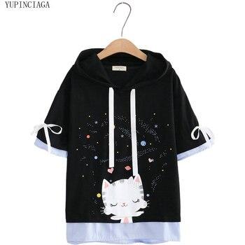 цена на Women Hooded Sweatershirts Harajuku Japan Style Cute Cartoon Cat Print Cotton Hoodies Short Sleeve  Loose Pullover Tracksuits