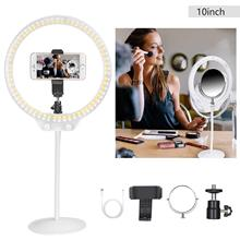 LED Ring Light 10 with Soft Tube Stand&Double Mirror for Live Streaming,YouTube,Portrait,Dimmable Desk Makeup