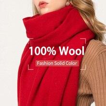 Zima 100% czysty szalik wełniany kobiety jednolita, czerwona Echarpe okłady dla pań Foulard Femme z pomponem ciepłe wełniane szale Merino kaszmir