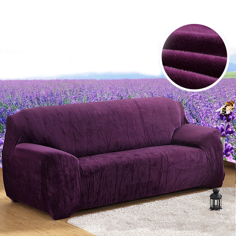 Solid color Thicken Plush Sofa Covers Full Cover Slipcover Polyester Stretch Sofa Towel Cushion Autumn Winter 1/2/3/4-seater