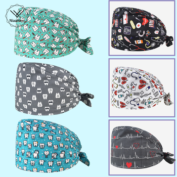 wholesale uni frosted cap adjustable laboratory work hat cotton cartoon cute Baotou scrubs cap pet printing work cap dust cap