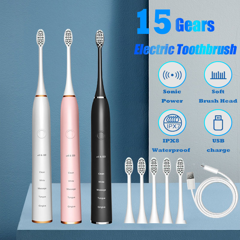 Powerful Sonic Cleaning - Rechargeable Toothbrush with Timer, 5/15 Modes, 2 Brush Heads Whitening Electric Toothbrush for Adults
