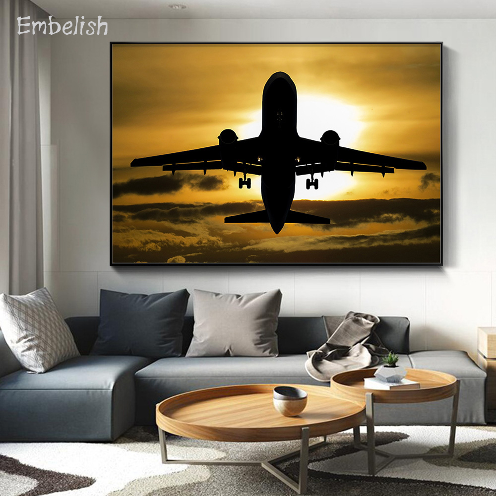 1 Pieces Hot Sunset Aircraft Airplane Modern Home Decor Pictures For Living Room Wall Art Posters HD Spray On Canvas Paintings image