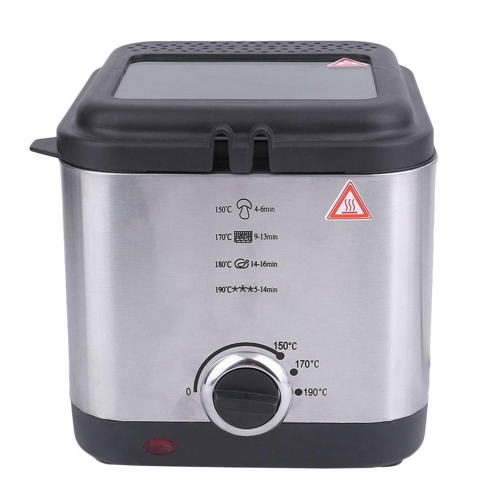 1.5L Electric Deep Fat Fryer Non Stick 900W Stainless Steel Fryer Pot Kitchen Cookware Smokeless Deep Fryer Pan