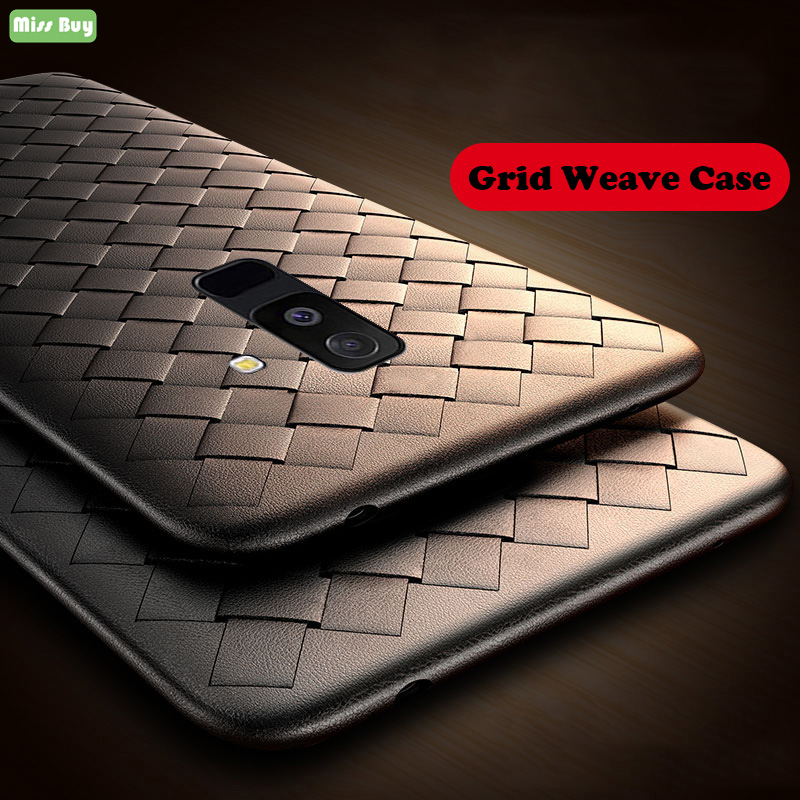 Missbuy Woven Grid Leather <font><b>Case</b></font> for <font><b>Samsung</b></font> <font><b>Galaxy</b></font> S9 S8 A6 <font><b>A8</b></font> Plus A7 A5 2018 Note 9 Protective Breathable Cover Silicone Capa image