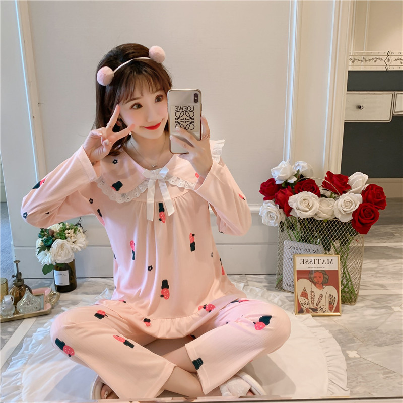 Pajamas Women Long Sleeve Knitted Spring And Autumn Women's Summer Thin Women's Thin Qmilch Autumn WOMEN'S Home Clothes Two-Piec