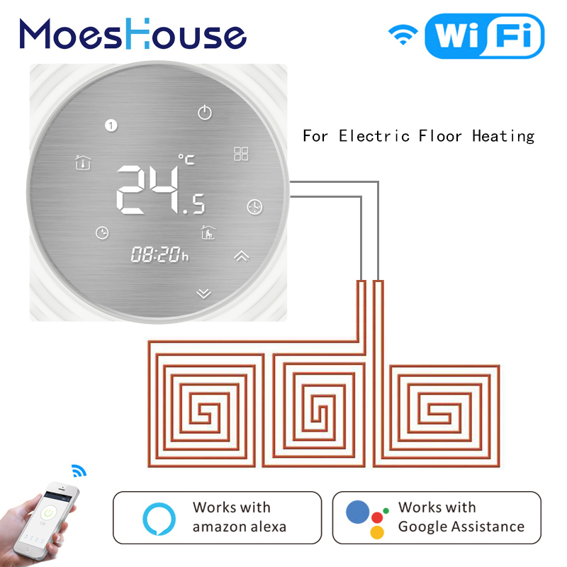 WiFi Smart Thermostat Electric Underfloor Heating Smart Life Tuya APP Remote Control 16A Works with Alexa