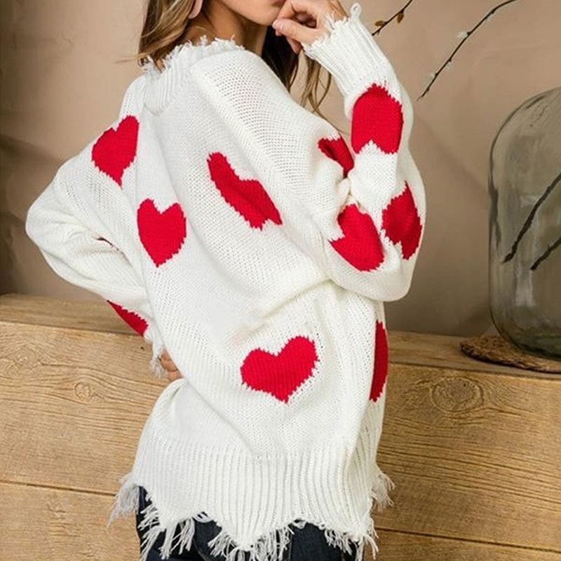 Pullovers Women Knitted Sweater Plus Size Jumpers Winter 2019 Knitwear Heat Print Christmas Female White Sexy Autumn Casual Blue in Pullovers from Women 39 s Clothing