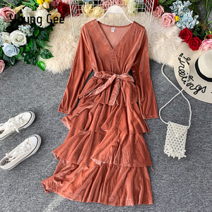 Young Gee Winter Burgundy Velvet Party Dress Women Casual Long Sleeve Tiered Ruffles Swing Female Autumn Sexy Dresses Robe Femme(China)