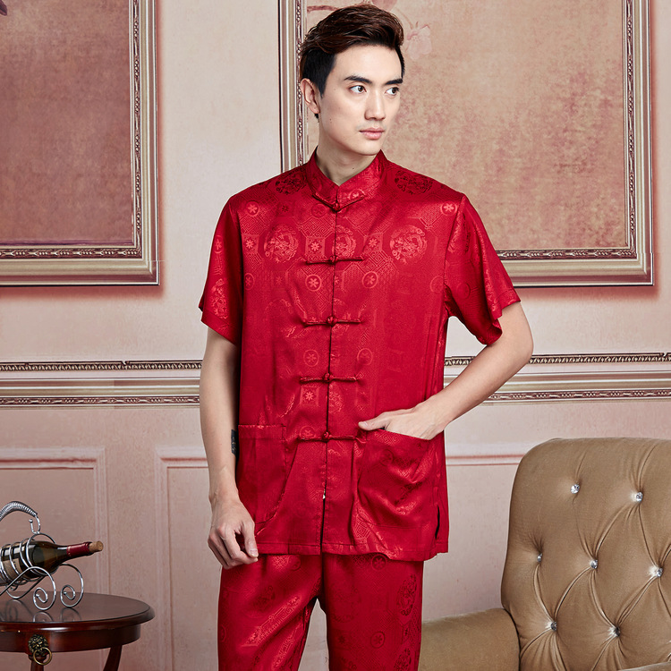 Support Mixed Batch Of A Generation Of Fat Short Sleeve Chinese Costume 2519-6 Men This Year New Style Listed Tai Chi Kung Fu Sh