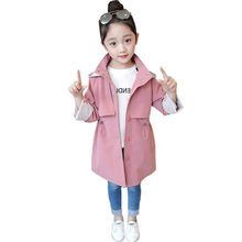 Trench Coat Girls 2019 New Fashion Long Windbreaker Coat Slim Hooded Outerwear & Coats for Kids Clothes Children Casual Jackets