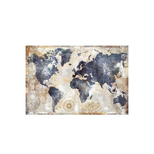 Vintage world map canvas painting, modern Nordic wall art posters and pictures decorate the family living room frameless