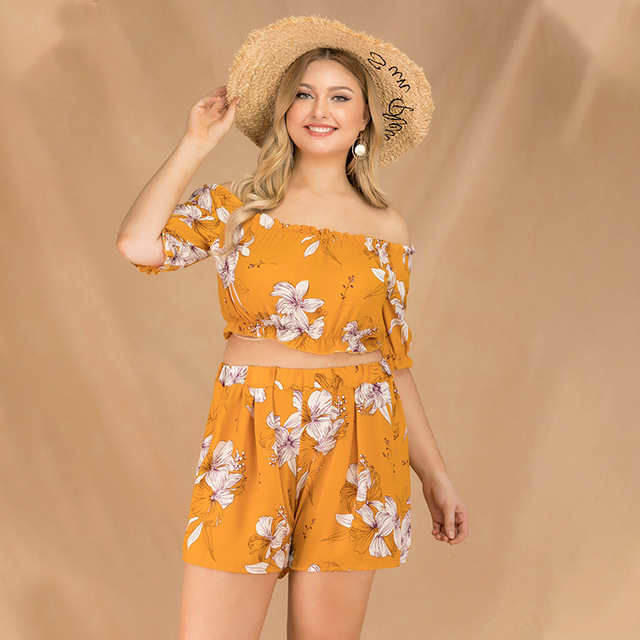 2019 new summer plus size sets for women large short sleeve loose off Shoulder jumpsuits tops and shorts yellow 4XL 5XL 6XL 7XL 3