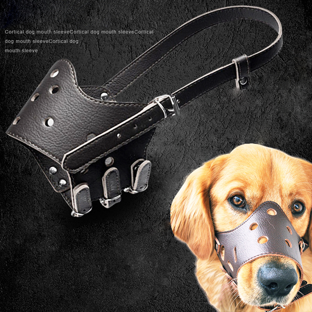 Adjustable Breathable Mask PU Leather Pet Dog Muzzle Anti Bark Bite Chew Safety for Small Large Dogs Mouth Soft Muzzles Training