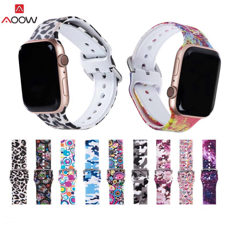 Printing Strap For Apple Watch Band Floral Flower Silicone Belt For IWatch Series 5 4 3 2 1 Watch Bracelet 38mm 40mm 42mm 44mm