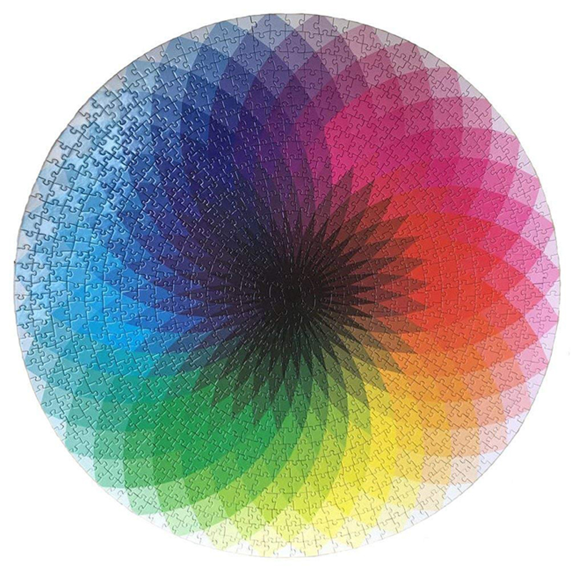 Puzzles 1000 Pcs Round Jigsaw Puzzles Rainbow Palette Intellectual Game For Adults And Kids Puzzle Gift