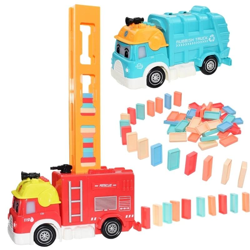 Domino building blocks train set sound and light children's color domino puzzle building blocks game toy children's car boy