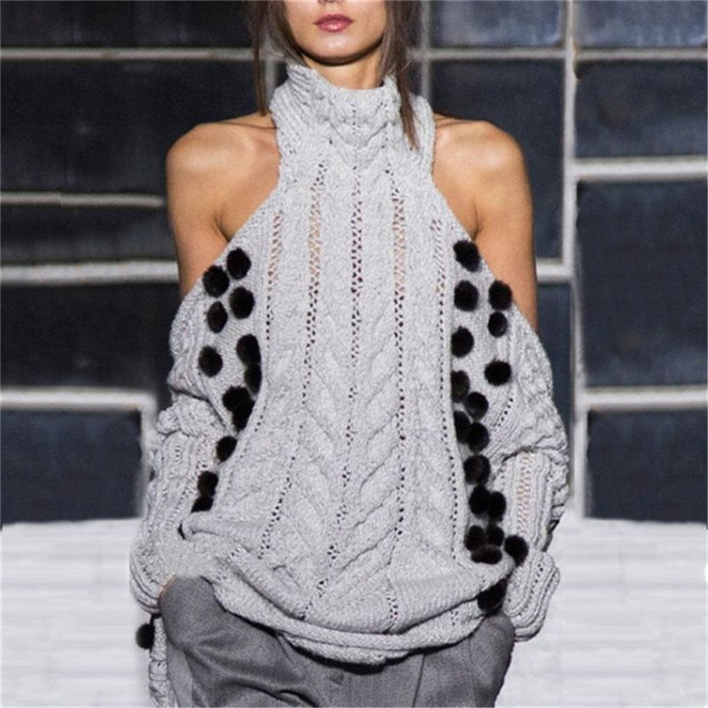 Winter Woman Turtleneck Sweater Grey Knitting Pullover Off Shoulder Hollow Casual Plus Size 4XL Sexy Tops Dot Decor Twist Weave