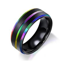 New hot mens ring titanium steel rainbow double plating groove hand jewelry