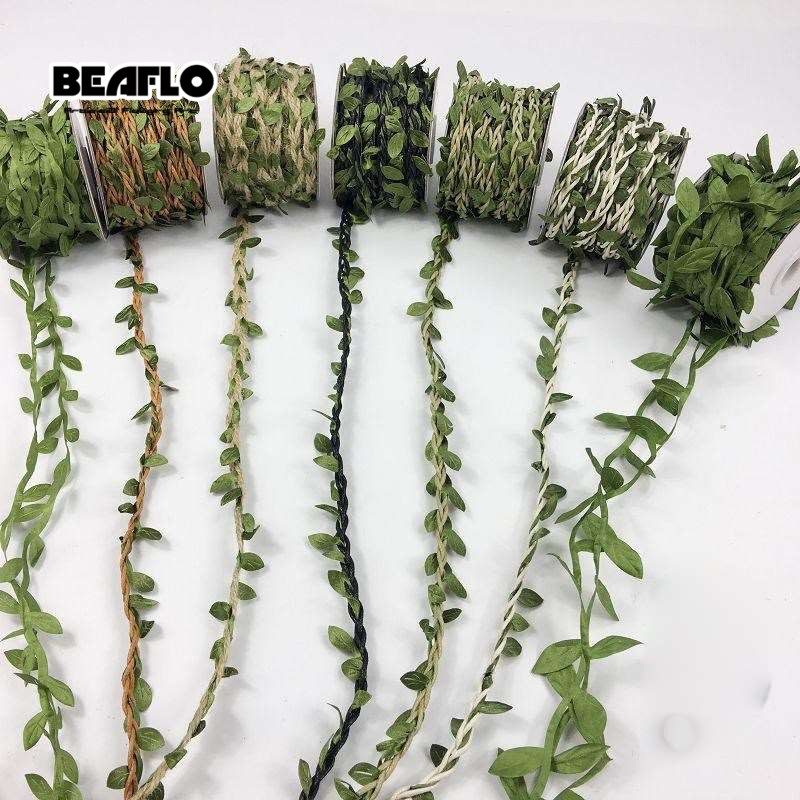 10M Artificial Vine Leaf Decoration Vivid Rattan Leaf Vagina Grass Fake Plants Cord String Leaves For Home Garden Party Decor