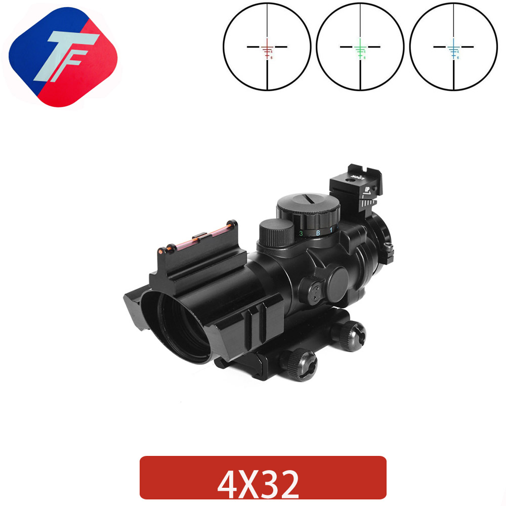 Riflescope 4X32 Acog Reticle Fiber Optic Sight Scope 20mm Dovetail Reflex Hunting Gun Rifle Scope Airsoft Sniper Magnifier Scope