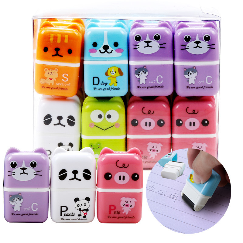 6pcs Cute Cartoon RollerColorful Rectangle Eraser Rubber Students Stationery Kids Gifts School Office Correction Supplies Eraser