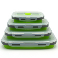 4 teile/satz Reusable silikon folding lunch box silikon folding schärfer food container bento box lunch container