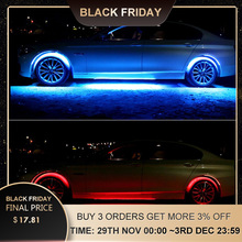 4x8 Colors Bright Auto LED Strip Neon LED Car Bottom Lights Underglow Underbody Music Active Sound System Neon Light Car Kit