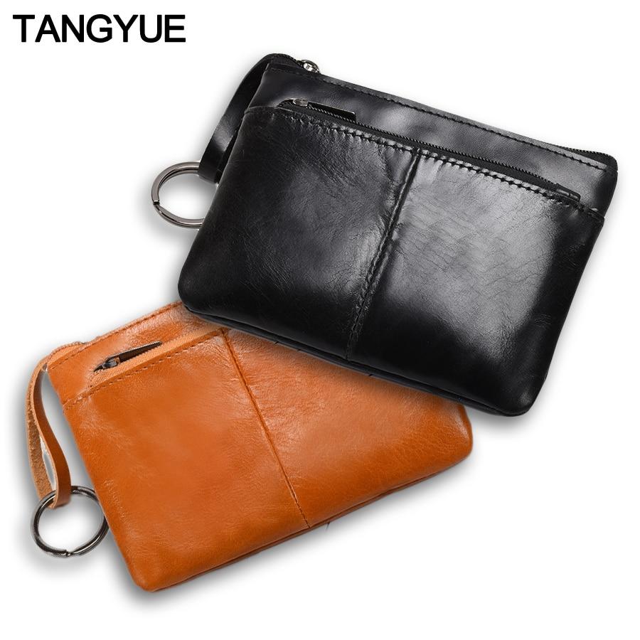 Mini Purse For Men Wallet Women Genuine Leather Zipper Vintage Short Lady Small Slim Female Women's Wallet Male Thin Portomonee