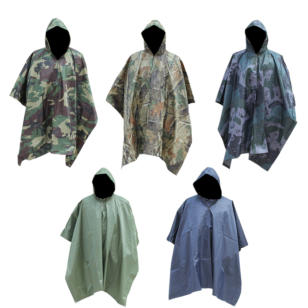 Military Camo Raincoat Poncho Waterproof Impermeable Men Motorcycle Rain Gear