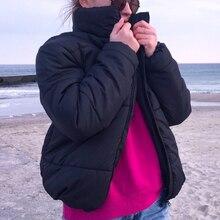 Женская парка, короткая куртка, водолазка, толстое теплое пальто, женское стильное одноцветное пальто на молнии, Женская Повседневная зимняя верхняя одежда D25