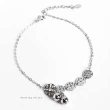 ZOBEI Minimalist 925 Sterling Silver Circle Bracelet For Women Round Geometric Metal Chain Fine Jewelry Party Birthday Gift