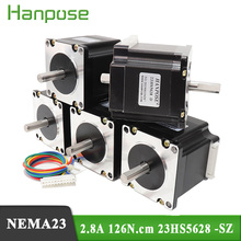 50pcs NEMA23 motore passo a passo 4 piombo 56 millimetri 57 motore Doppio Albero 2.8A 126N.CM 23HS5628 SZ per Robot e 3D motore della stampante