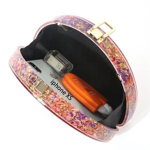 Image 4 - جديد نصف دائرة المرأة حقيبة الاكريليك الترتر ليلة عشاء محفظة حقائب امرأة الزفاف مساء حقائب العصرية الملونة صندوق حفلات مخلب
